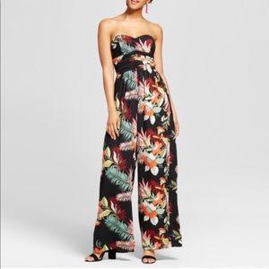 Tropical print, floral strapless jumpsuit/pantsuit
